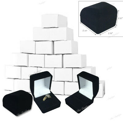 Lot Of 12  Hot Deal  Flocked Velour Ring Gift Boxes Black Ring Box Jewelry Boxes
