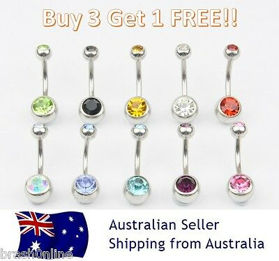 Double Gem Belly Bar 14G 316 Surgical Steel Button Navel Ring Gem Crystal Gold