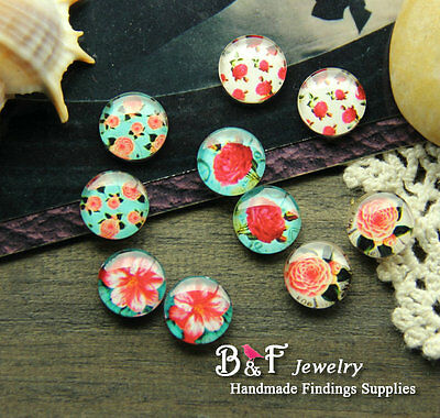 10PCS 12mm Handmade Mix Flower Glass Dome Cabochon Cameo Cabs MBL220