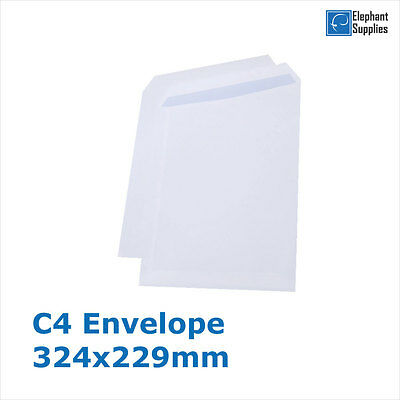 C4 Envelopes PLAIN WHITE Self Seal Strong Paper 324mm x 229mm