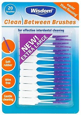 2 x WISDOM CLEAN BETWEEN INTERDENTAL BRUSHES 2 pack of 20 brushes X-Large Mauve