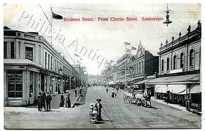 C.1910 PT NPU POSTCARD BRISBANE STREET FROM CHARLES STREET LAUNCESTON TAS p40.