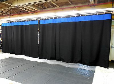 Lot of (2) Stage Curtain/Backdrop 9 H x 20 W, Non-FR, Black w/ Accent Color