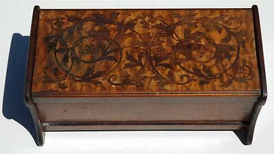 "Antique Vintage Satinwood Inlaid Wooden Hinged Box - 5 1/4"" Tall 11 1/"" Wide"