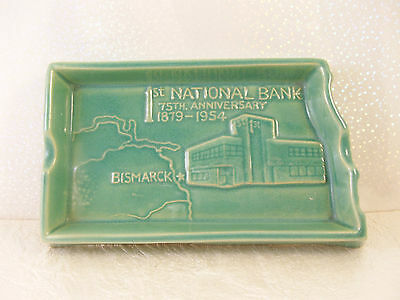 North Dakota Rosemeade 1st National Bank Bismarck ND State Bank Ashtray 1954