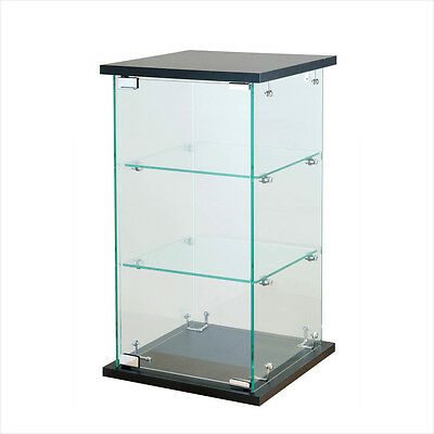 "Black Tower Glass Display Case Counter Top Showcase Fixture w/ Lock 24"" H x 13"""