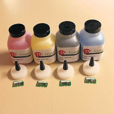 4 Pack Chips-Toner Refill Kit for Okidata C110, C130, MC160N (BK, CMY) printer