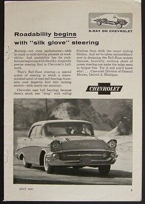 "1957 Chevy 4 Door Sedan *Roadabity begins with ""silk glove"" steering* Vintage AD"