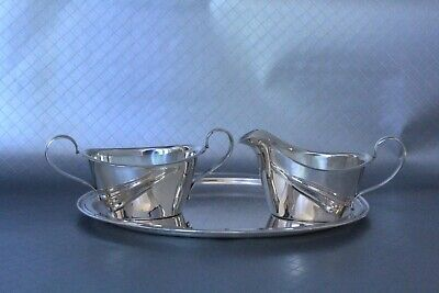 Art Deco Sterling Silver Sugar Bowl and Creamer with Tray
