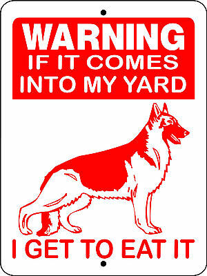 German Shepherd Guard Dog Aluminum Sign Warning D2668