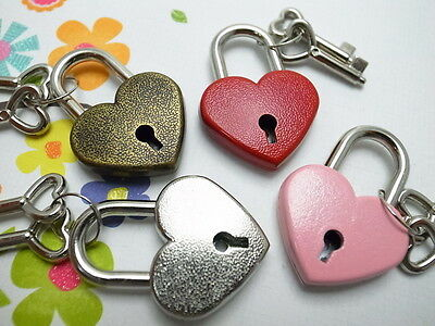 Old Vintage Antique Style  Mini Key Lock Heart Shaped(Assorted Color) Lot of 4