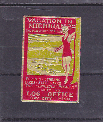 Vintage Poster Stamp Label VACATION IN MICHIGAN Log Office Bay City swimmer #IM