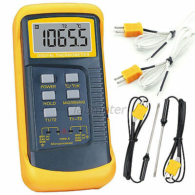 K-Type Digital Thermometer Thermocouple Sensor Dual Channel 1300°C/-58~2372°F