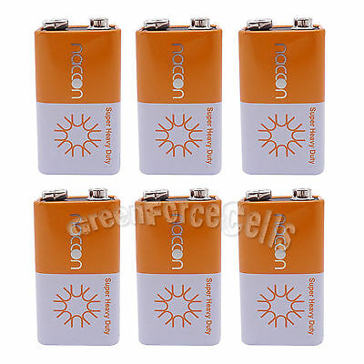 6 pcs 9V Volt Super Heavy Duty Carbon-Zinc Battery Cell 6F22 Block Naccon