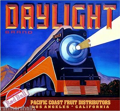 Los Angeles Daylight Locomotive Train Orange Citrus Fruit Crate Label Art Print