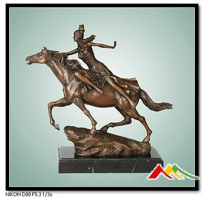 """bronze statue art deco girl on horse """"Towards the Unknown"""" signed:CL.J.R.COLINET"""