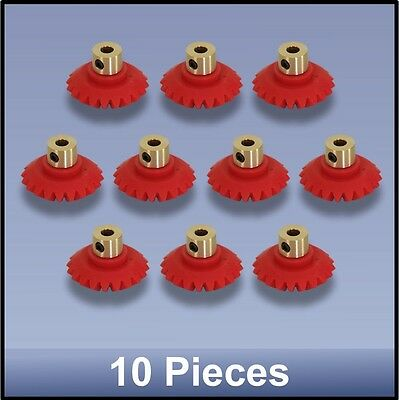 27 MM BEVEL MODULE 1 PRECISION MOULDED BRASS HUB NYLON 66 GEAR - 10 pieces