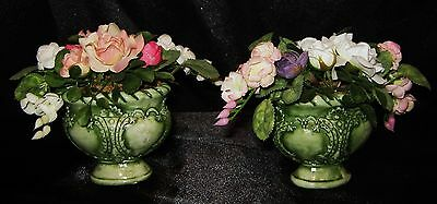Nwt Top Designs 2 Pc Set Mini Victorian Pink White Roses Silk Arrangement #2