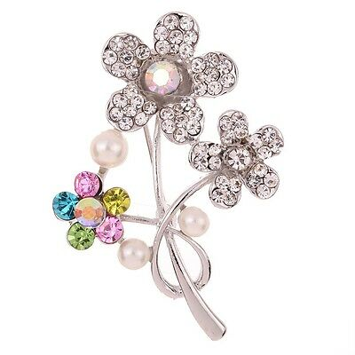 Nice Silver Plated Flower Carve Colorful Faux Pearl Diamante Crystal Brooch Pin