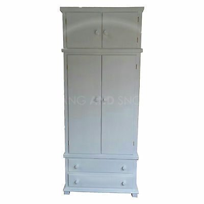 Hand Made Florida White 2 Drawer Gents Wardrobe With Topbox (Assembled)