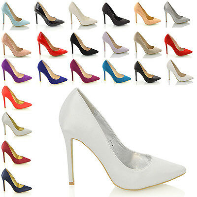 Ladies Pointed Heels Prom Party Bridal Courts Womens Stiletto Shoes Size 3 - 8