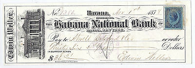 1878 US Bank Check - Havana - Signed by Edwin Weller, Civil War Soldier