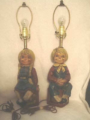 Raggedy Ann & Andy Vintage Lamps 1972 Ceramic Chalkware Rare Working Heavy Nice!