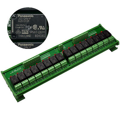 DIN Rail Mount 16 SPDT 10A Power Relay Interface Module, OMRON Relay 24V Coil.