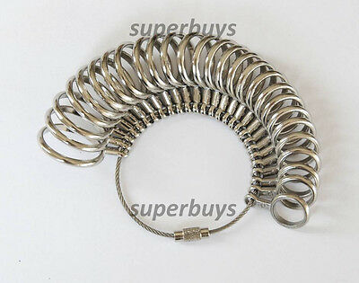0-13 in ½ Sizes 27 Set Chrome Finger Ring Sizer Sizing Measurement Jeweller Band