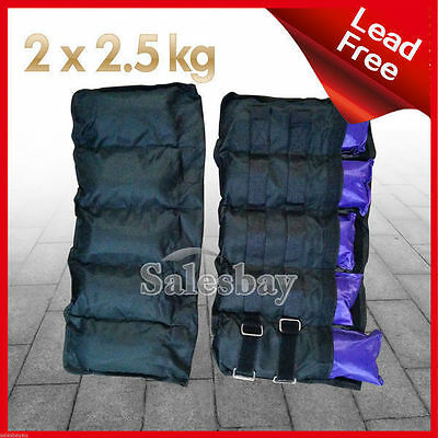 2x 2.5kg Ankle Wrist Weights Double Straps Soft Satchel GYM Equipment Yoga