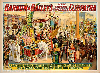 1912 Barnum & Bailey Cleopatra Vintage Circus Advertisement Art Poster Print