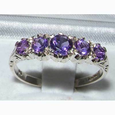 Antique Style Solid Sterling Silver Natural Amethyst Ring with English Hallmarks