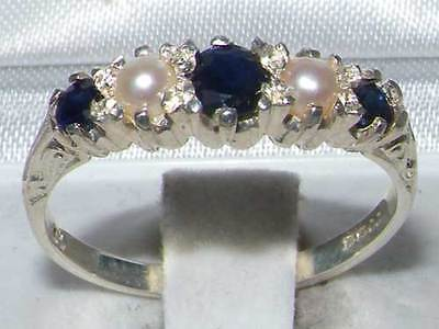 Antique 925 Sterling Silver Natural Sapphire & Pearl Ring with English Hallmarks