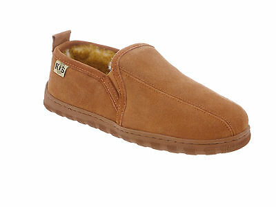 RJ's Fuzzies Mens Sheepskin Leather Lined Romeo Slippers NEW