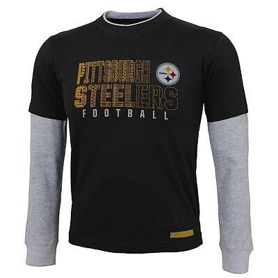 008786a3846 ( 26) Pittsburgh Steelers LONG SLEEVED nfl NFLPA Jersey T-Shirt Tee TODDLER  (