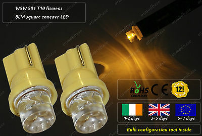 2x T10 W5W 501 168 LED Yellow HID Wedge Interior Bulbs Dashboard Lamps Speedo