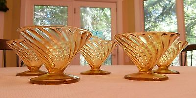 Federal Glass, Depression Glass, Diana Sherbet Dishes, 5 Amber Dishes, Very Good