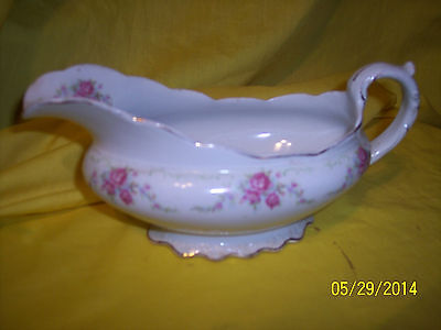 W.H. Grindley GRAVY BOAT Pink Roses CONWAY PATTERN England