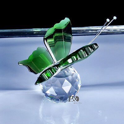 New Crystal Glass Cut Lovely Green Butterfly Parked Clear Ball Child Gift Deco