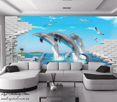 2 Large Dolphins Jump Wall Paper Wall Print Decal Wall Deco wall Mural Home Kids