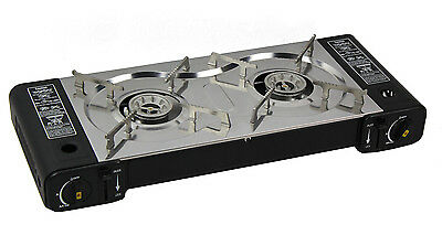 PORTABLE DUAL (2) HOB BURNER GAS COOKER STOVE stainless steel burners CAMPING