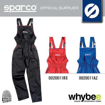 New! Sparco Mechanic Workshop Pit Crew Dungarees Salopettes - Black / Red / Blue