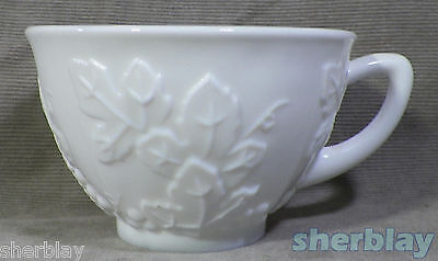 Colony Harvest Grape White Milk Glass Single Footed Coffee Tea Cup