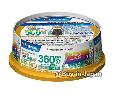 20 Verbatim Blu ray BD-R DL 50gb 4x Dual Layer Bluray Genuine Pack Printable