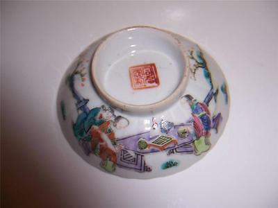 19C Chinese Sauce Dish Tray Man With Sword Woman Around Table