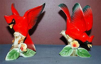 Pair Of Porcelain Cardinal Figurines On Wood Perches ~Ss2~