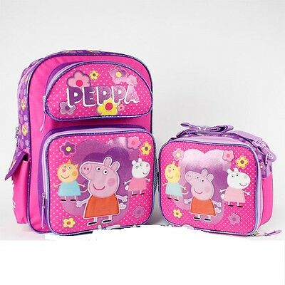 """Peppa Pig Pink 16"""" inches Large Backpack & Lunch Box BRAND NEW Licensed Product"""