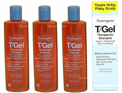 3 x 250ml TGEL T/GEL THERAPUTIC SHAMPOO  NEUTROGENA T GEL Itchy Scalp Treatment