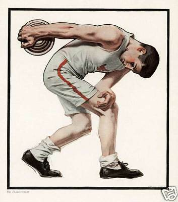 Discus Thrower JC Leyendecker for Collier's magazine poster art print SKU1098