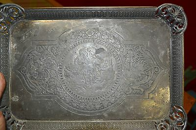 Antique Ornate TUFTS TRAY with CHERUBS
